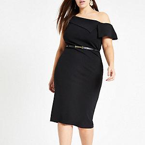 RI Plus - Zwarte bardotbodyconmidi-jurk met ceintuur