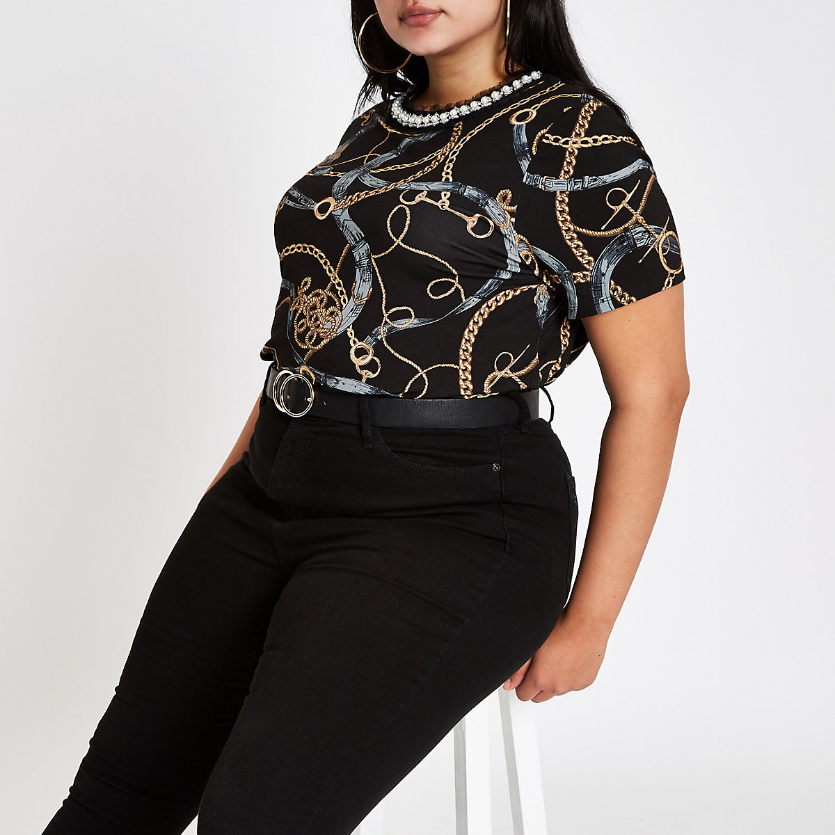 Plus black chain embellished neck T-shirt