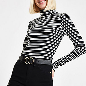 Green stripe high neck long sleeve top