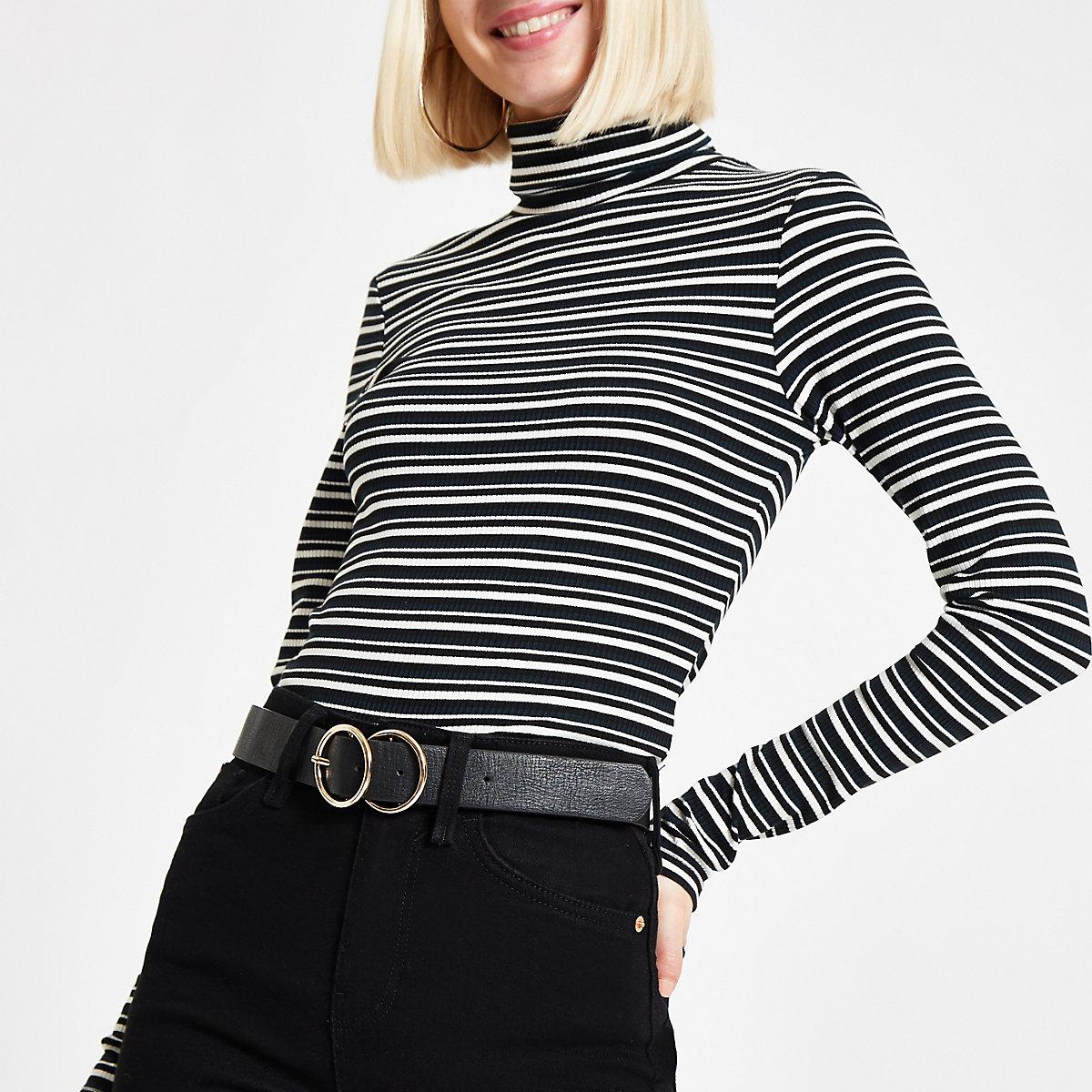 Green stripe high neck long sleeve top
