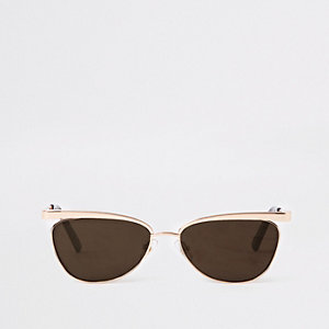 Gold slim revo lens sunglasses
