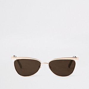 Goudkleurige smalle zonnebril met revo glazen