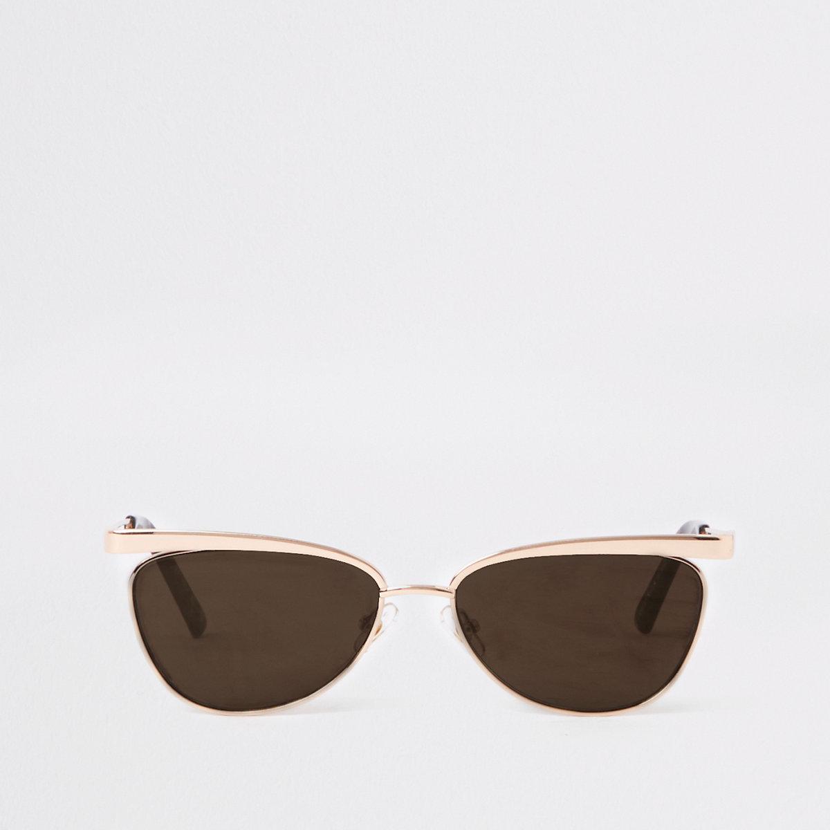 Gold slim revo lens sunglasses