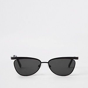 Zwarte zonnebril met smal montuur en grijze glazen