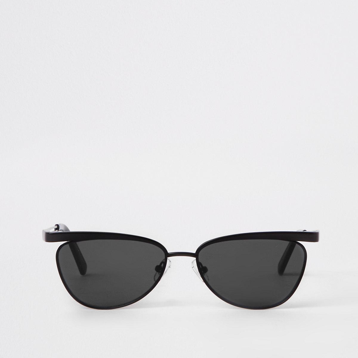 Black smoke lens slim frame sunglasses