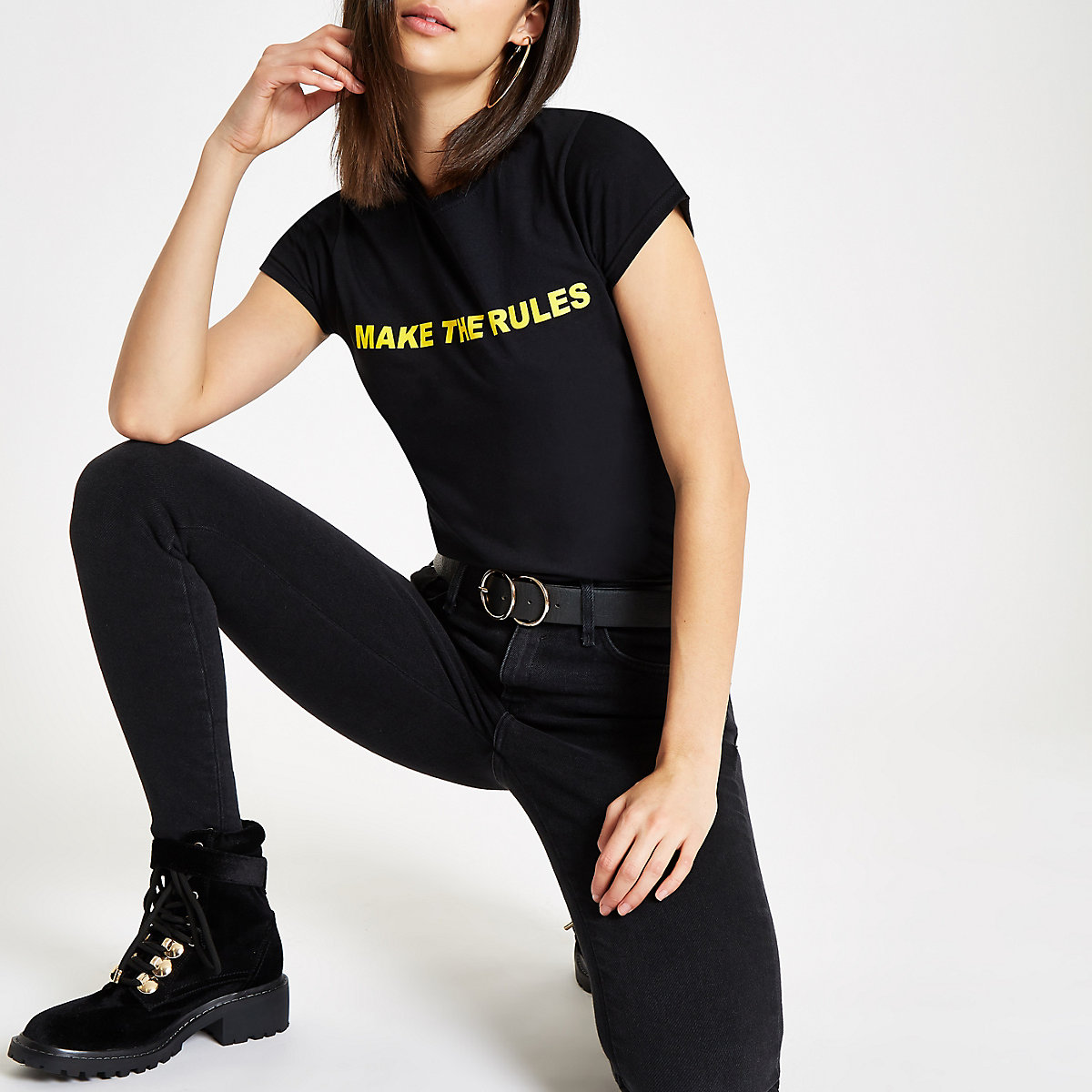 Zwart T-shirt met 'I make the rules'-print