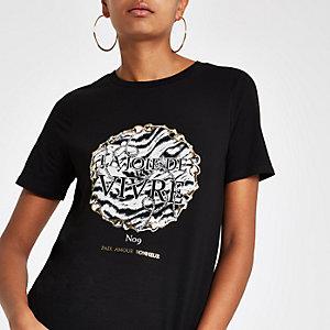 T-shirt noir à imprimé «joie» métallisé doré