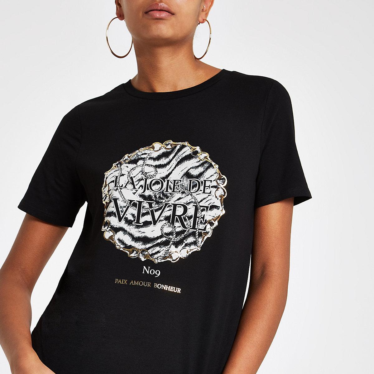 Zwart T-shirt met goudkleurige 'joie'-folieprint
