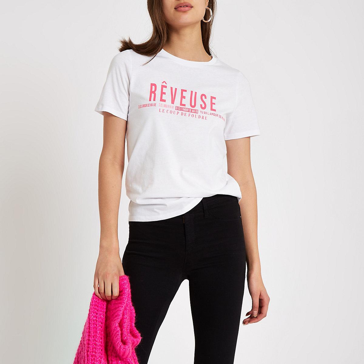 White 'reveuse' bright pink print T-shirt
