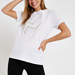 White embroidered 'Feel good' T-shirt