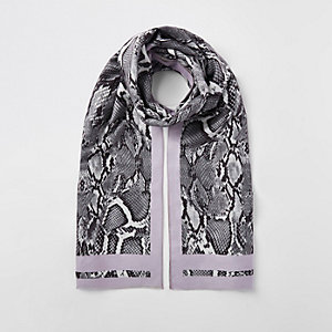 White snake print scarf