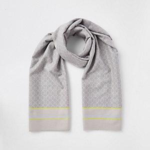 Écharpe couverture imprimé monogramme RI grise