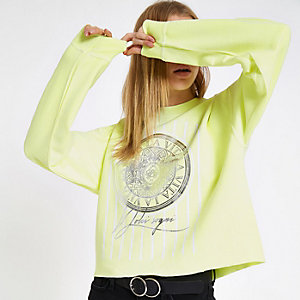 Yellow 'La vita' print long sleeve sweatshirt