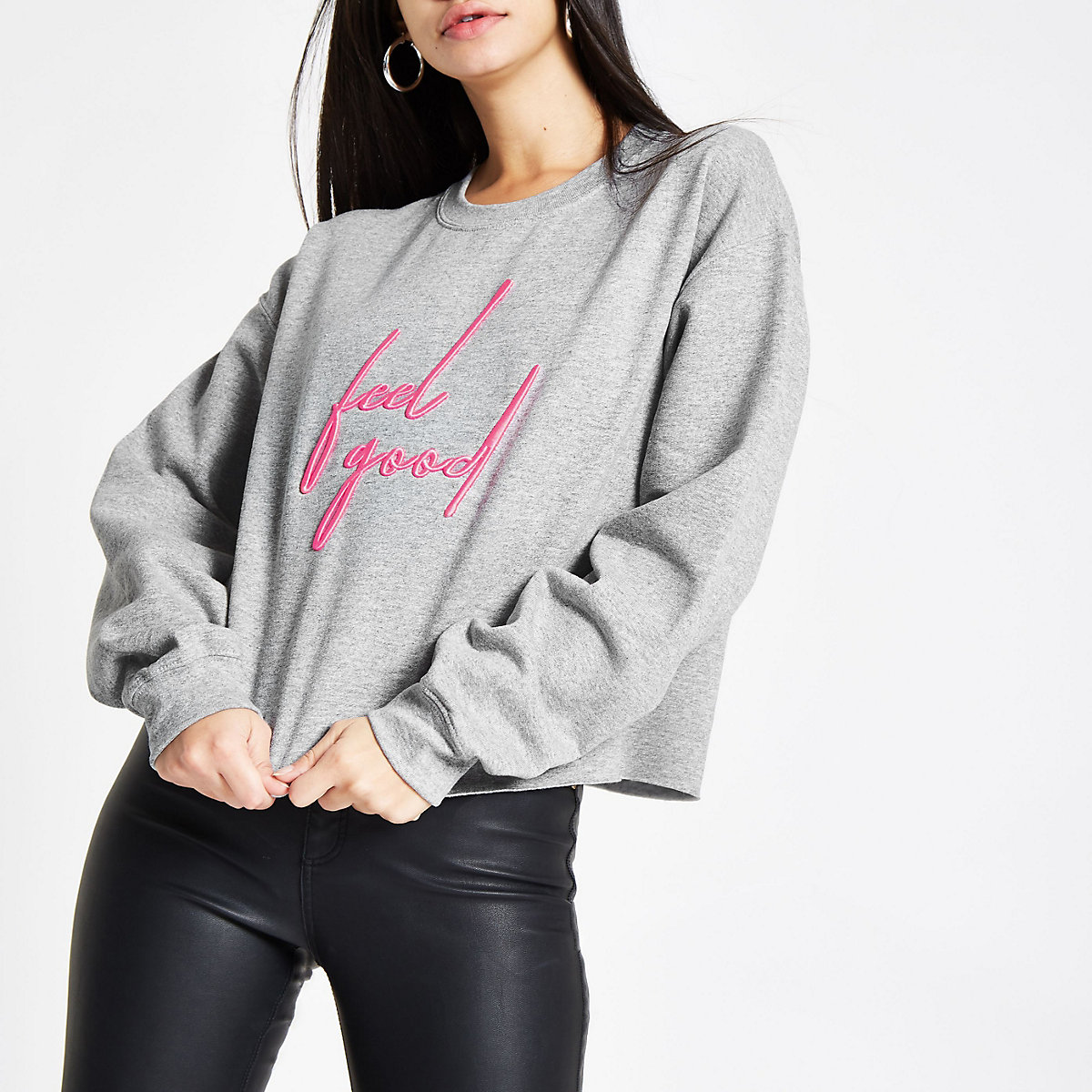 Grey 'feel good' embroidered sweatshirt