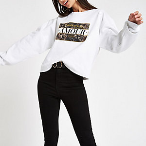 White print 'l'amour' print sweatshirt