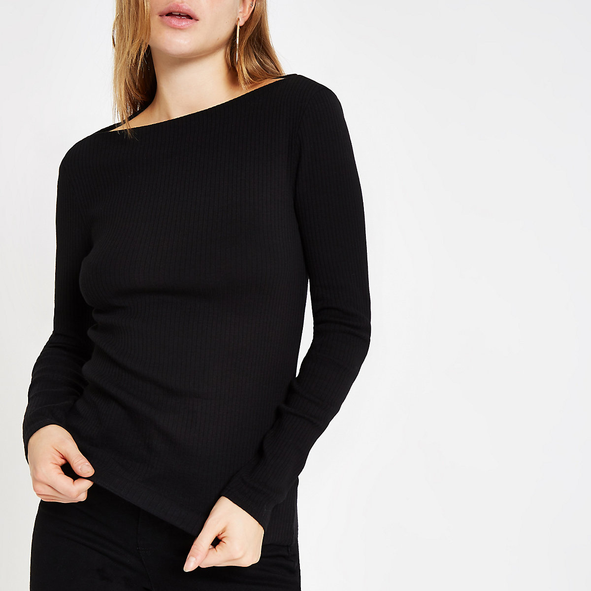 Black ribbed boat neck long sleeve top