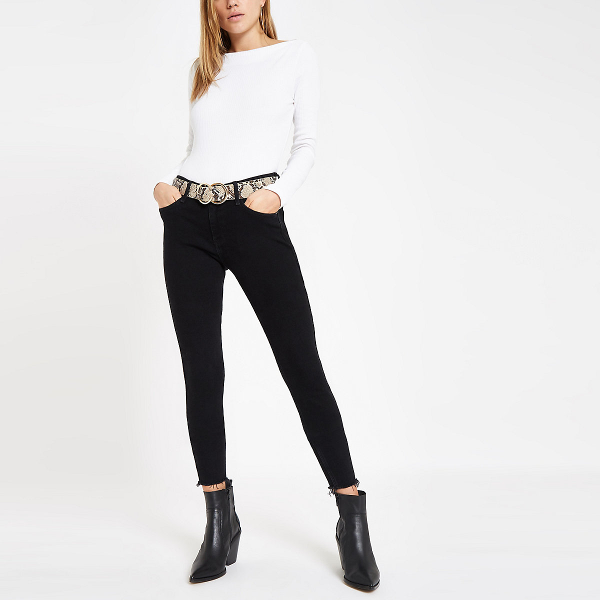 White ribbed boat neck long sleeve top