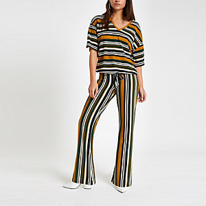 Petite green stripe jersey top