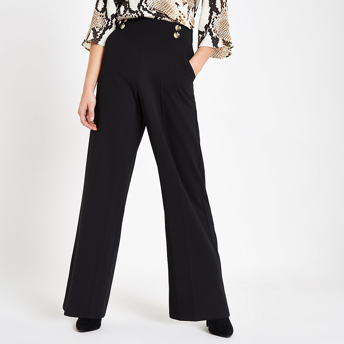 Petite black button detail wide leg trousers