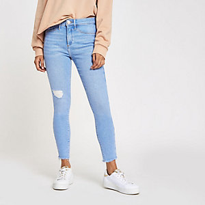 Petite – Molly – Blaue Jeggings