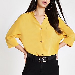 Yellow button up v neck blouse