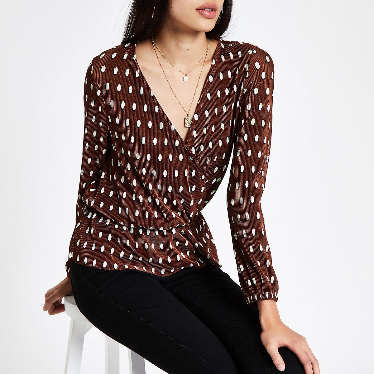 Brown polka dot plisse wrap top