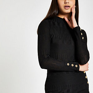 Black ribbed high neck button sleeve top