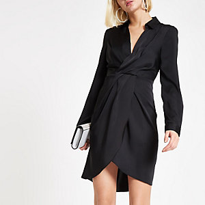 Black wrap front shirt dress