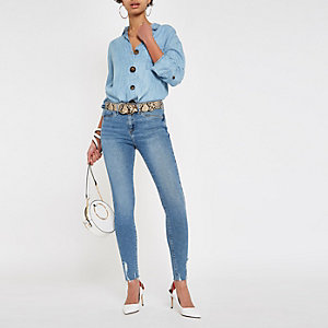 Light blue Molly frayed hem jeggings