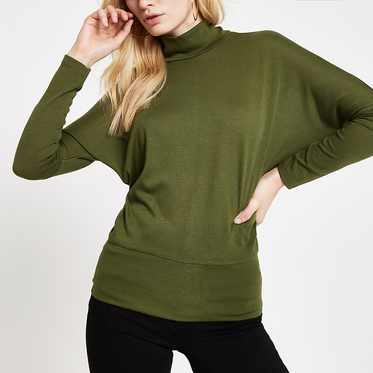 Green high neck batwing sleeve top