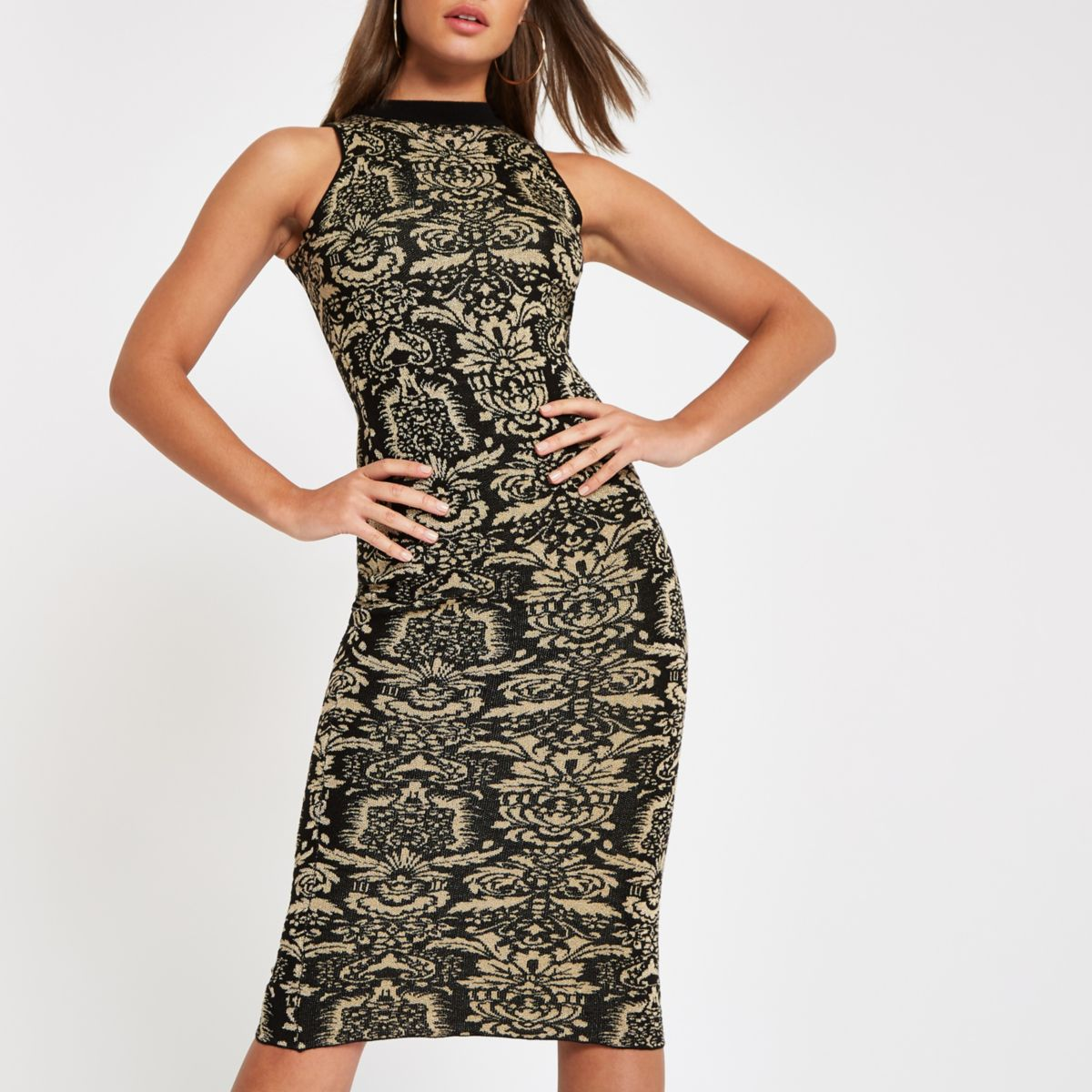 Black baroque print midi dress