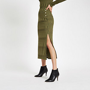 Khaki button side jersey midi skirt