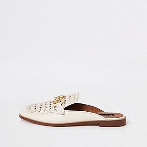Crème leren loafers met open hiel en gespdetail