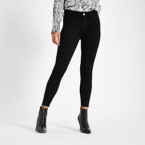 Petite black mid rise Molly jeggings