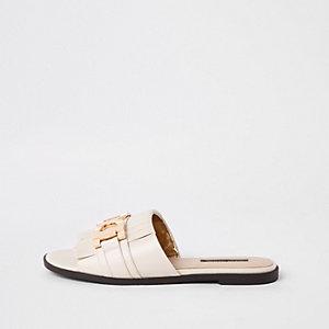Witte peep-toe loafers met open hiel
