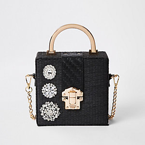 Black woven gem boxy cross body bag