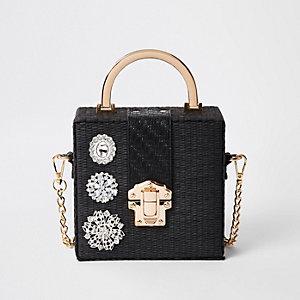 Black woven gem boxy cross body bag