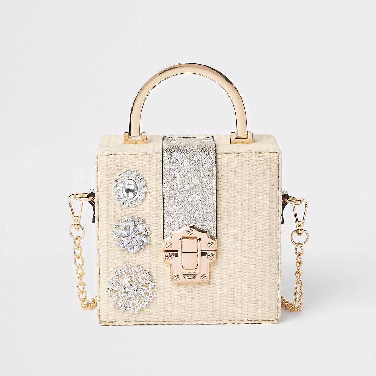 Cream woven gem boxy cross body bag