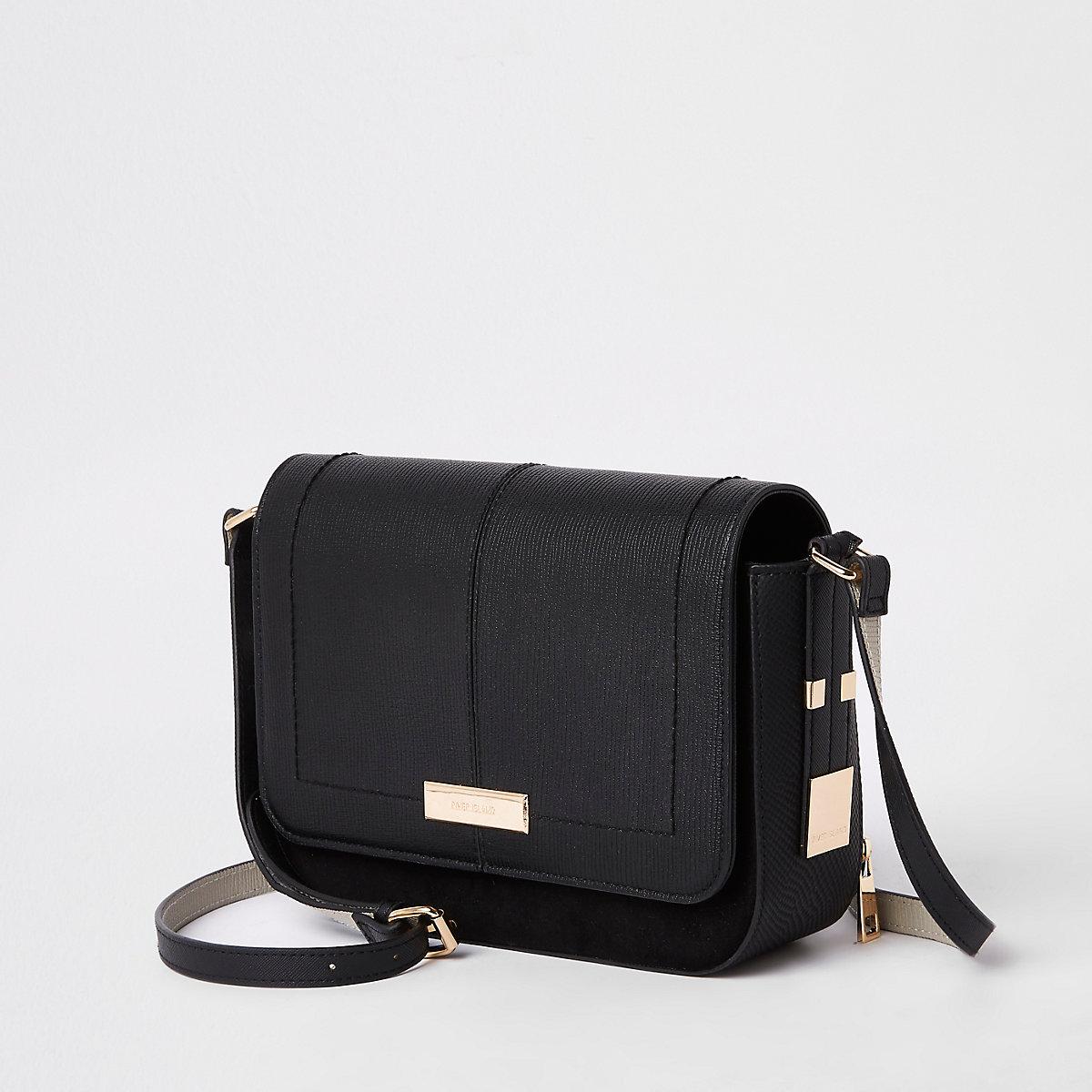 Black flap front cross body bag