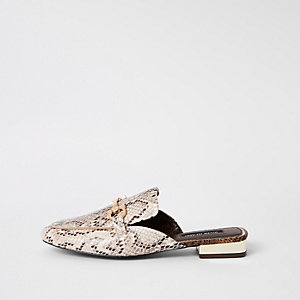 Beige snake print snaffle backless loafers