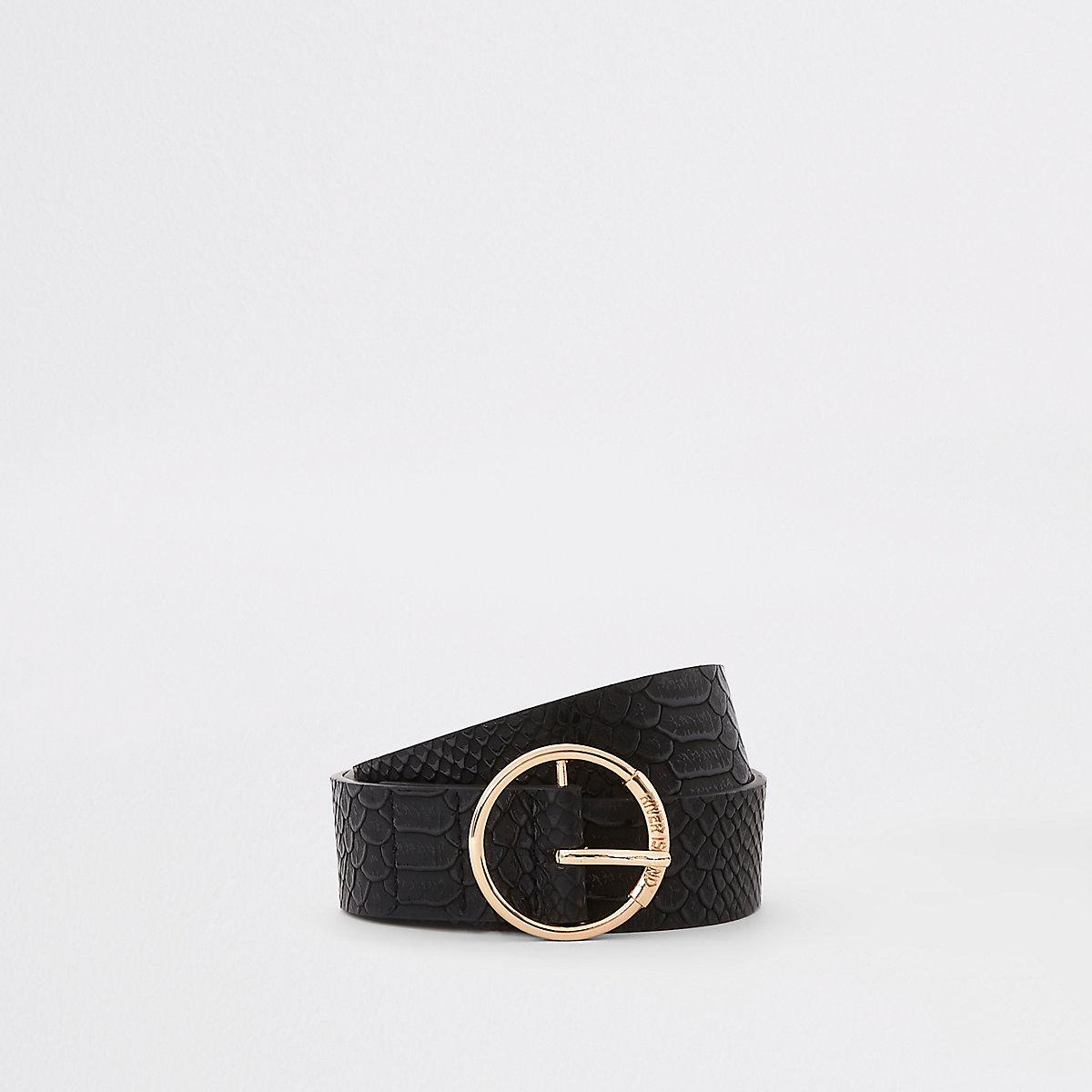 Black croc ring jeans belt