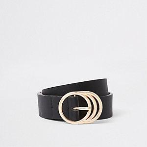 Zwarte jeansriem met drie ringen