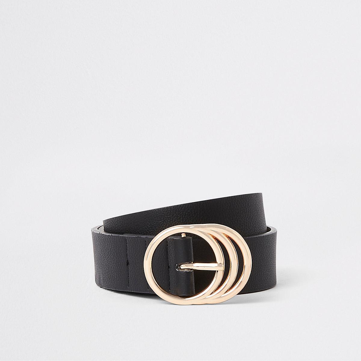 Black triple ring jeans belt