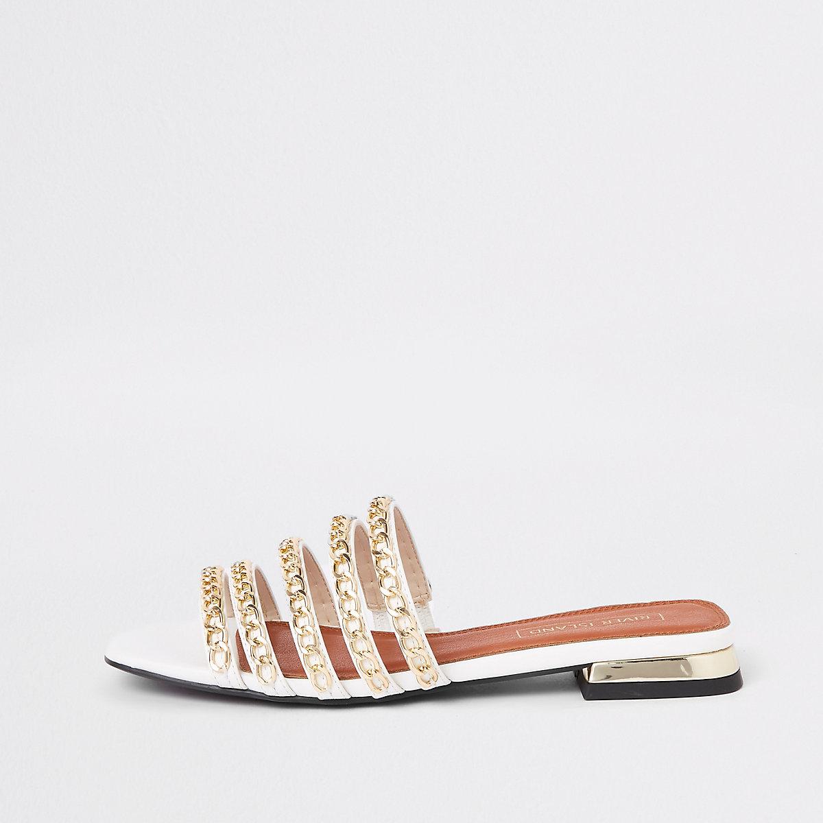 Gold multi chain strap flat mules