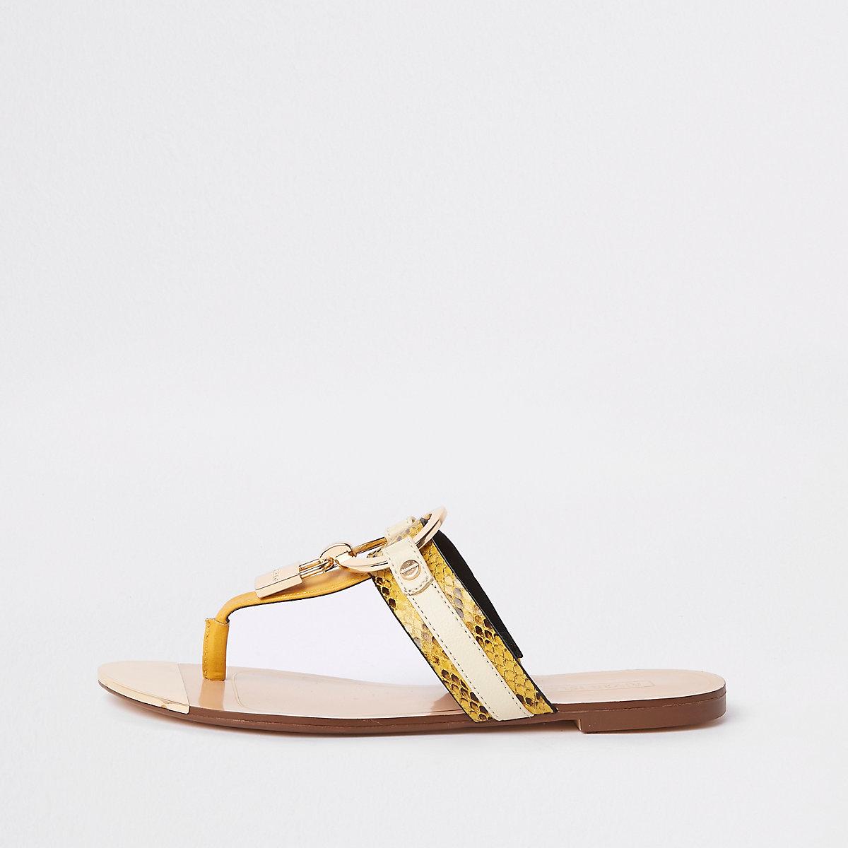 Yellow padlock toe post sandals