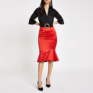 Red satin frill hem pencil skirt