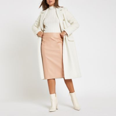 Light Pink Faux Leather Pencil Skirt by River Island