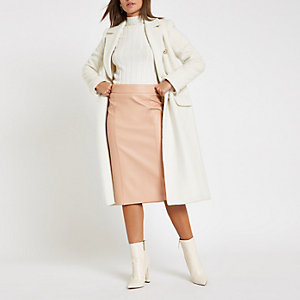 Light pink faux leather pencil skirt