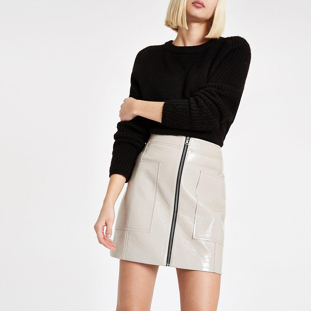 Grey vinyl zip front mini skirt