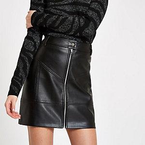 Black zip front mini skirt